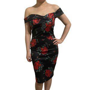 3/$25 Black Retro 50s Glam Red Roses Bodycon Dress